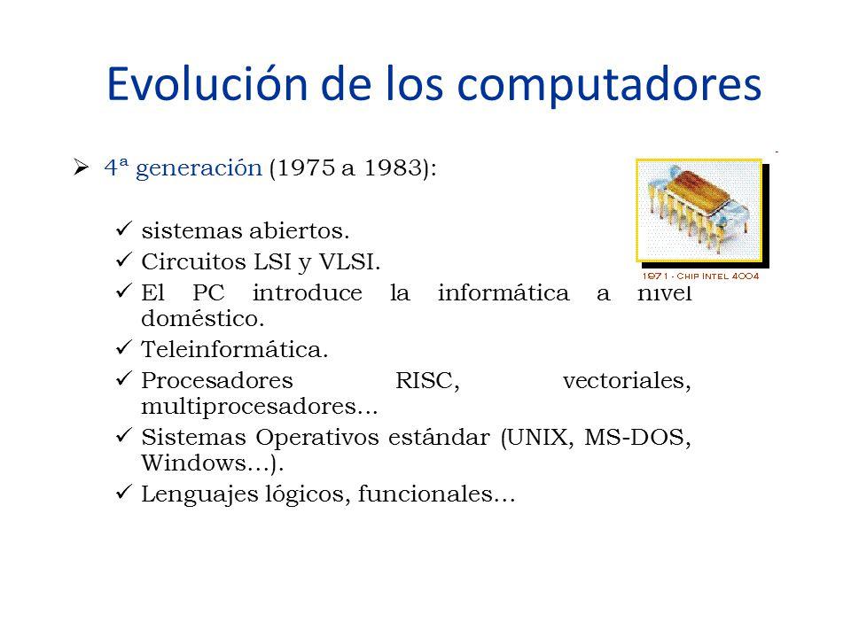 Evolución de los computadores  4ª generación (1975 a 1983): sistemas abiertos. Circuitos LSI y VLSI. El PC introduce la informática a nivel doméstico