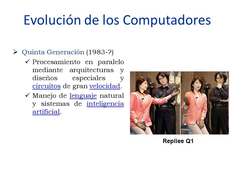 Evolución de los Computadores  Quinta Generación (1983-?) Procesamiento en paralelo mediante arquitecturas y diseños especiales y circuitos de gran v