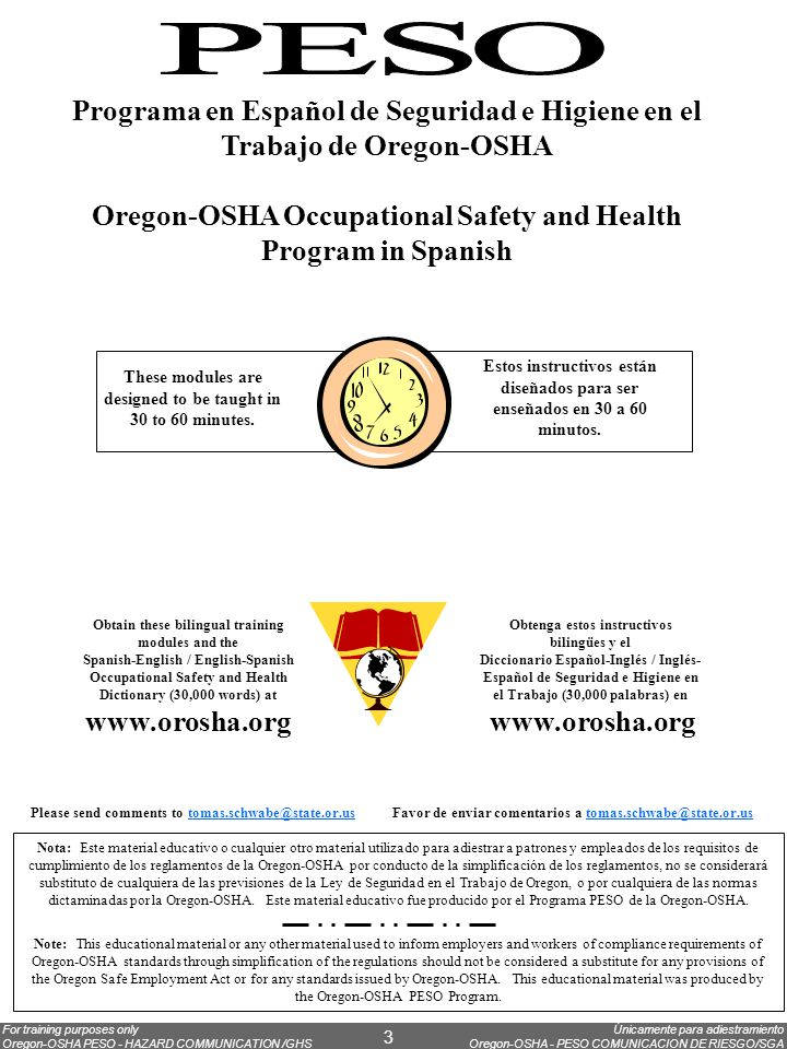 Únicamente para adiestramiento Oregon-OSHA - PESO COMUNICACION DE RIESGO/SGA For training purposes only Oregon-OSHA PESO - HAZARD COMMUNICATION /GHS 3