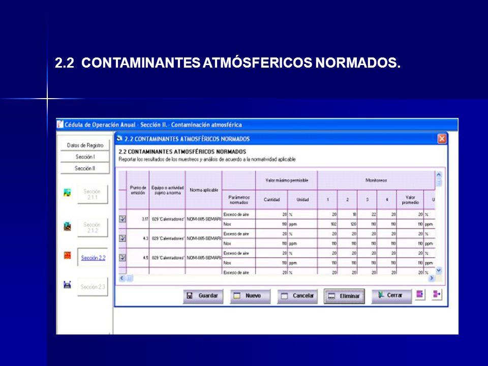 2.2 CONTAMINANTES ATMÓSFERICOS NORMADOS.
