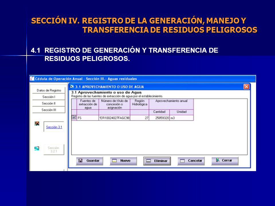 4.1 REGISTRO DE GENERACIÓN Y TRANSFERENCIA DE RESIDUOS PELIGROSOS.