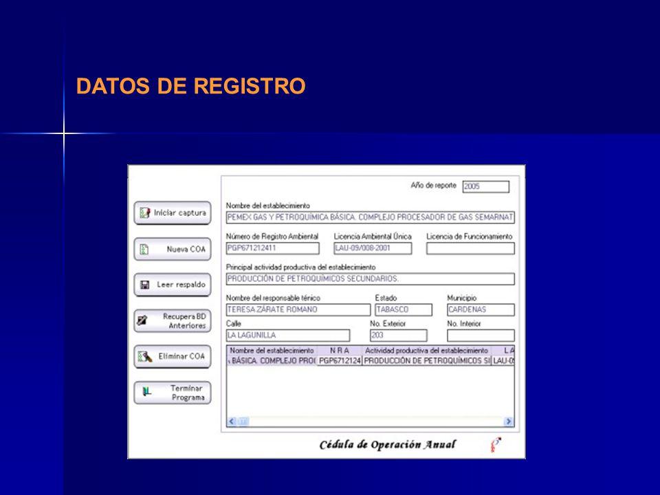 DATOS DE REGISTRO