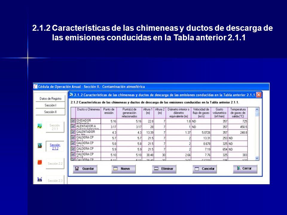 2.1.2 Características de las chimeneas y ductos de descarga de las emisiones conducidas en la Tabla anterior 2.1.1