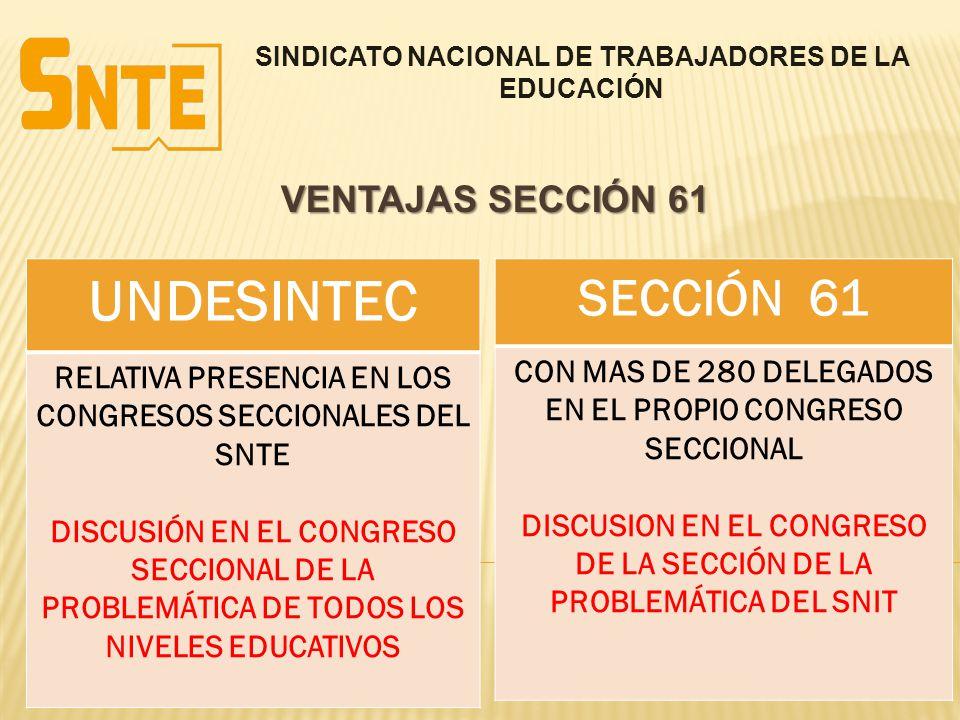 SINDICATO NACIONAL DE TRABAJADORES DE LA EDUCACIÓN VENTAJAS SECCIÓN 61 UNDESINTEC RELATIVA PRESENCIA EN LOS CONGRESOS SECCIONALES DEL SNTE DISCUSIÓN E