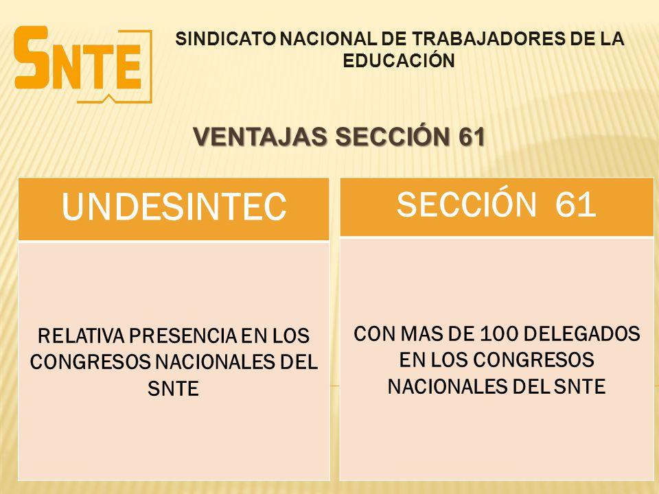 SINDICATO NACIONAL DE TRABAJADORES DE LA EDUCACIÓN VENTAJAS SECCIÓN 61 UNDESINTEC RELATIVA PRESENCIA EN LOS CONGRESOS NACIONALES DEL SNTE SECCIÓN 61 C