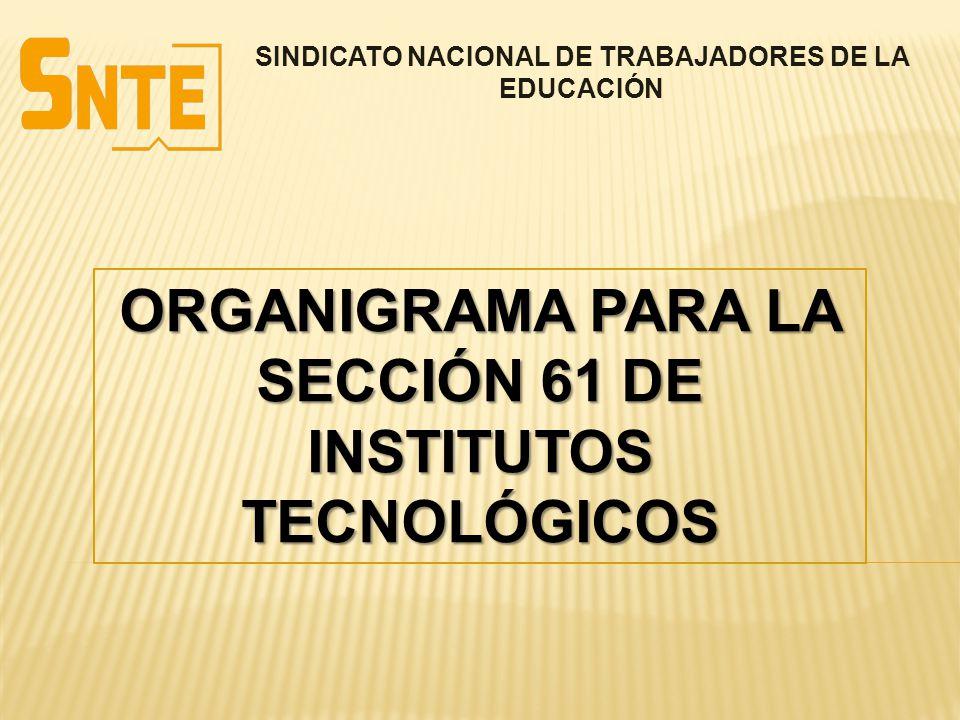 SINDICATO NACIONAL DE TRABAJADORES DE LA EDUCACIÓN ORGANIGRAMA PARA LA SECCIÓN 61 DE INSTITUTOS TECNOLÓGICOS