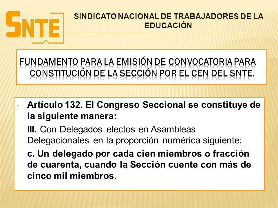 Artículo 132. El Congreso Seccional se constituye de la siguiente manera: III. Con Delegados electos en Asambleas Delegacionales en la proporción numé