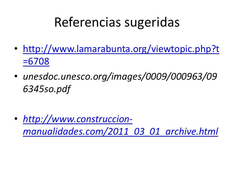 Referencias sugeridas http://www.lamarabunta.org/viewtopic.php?t =6708 http://www.lamarabunta.org/viewtopic.php?t =6708 unesdoc.unesco.org/images/0009