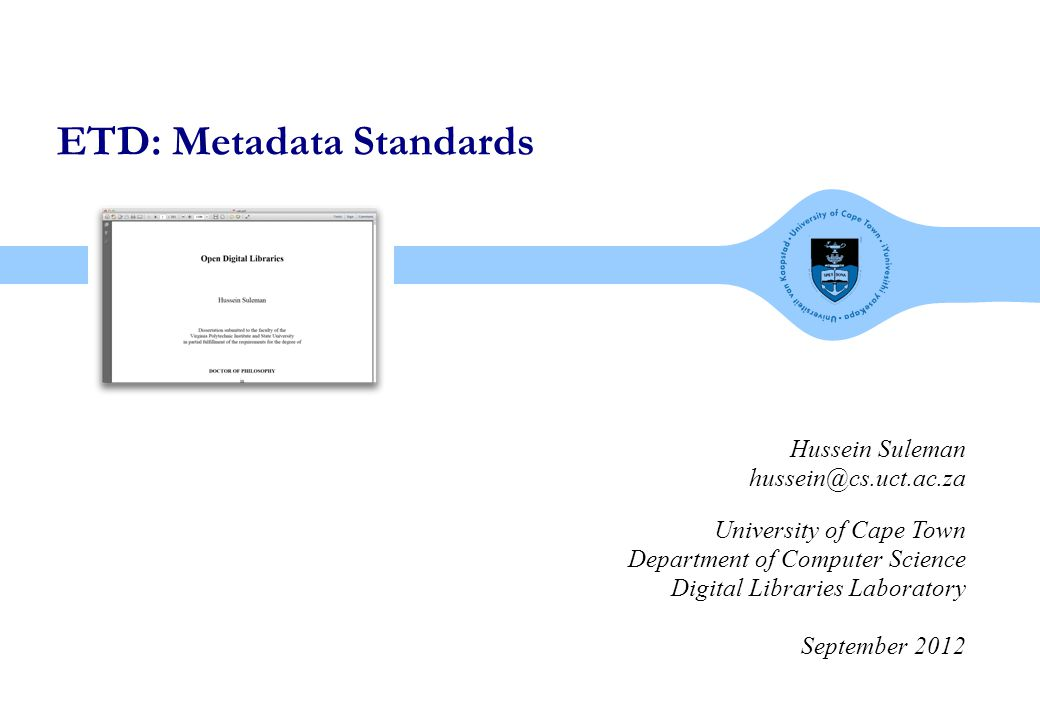 digital libraries laboratory What is Metadata  Auxiliary information on theses.