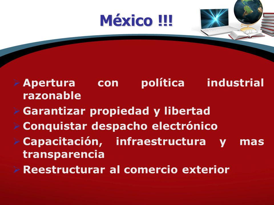  Apertura con política industrial razonable  Garantizar propiedad y libertad  Conquistar despacho electrónico  Capacitación, infraestructura y mas transparencia  Reestructurar al comercio exterior México !!!