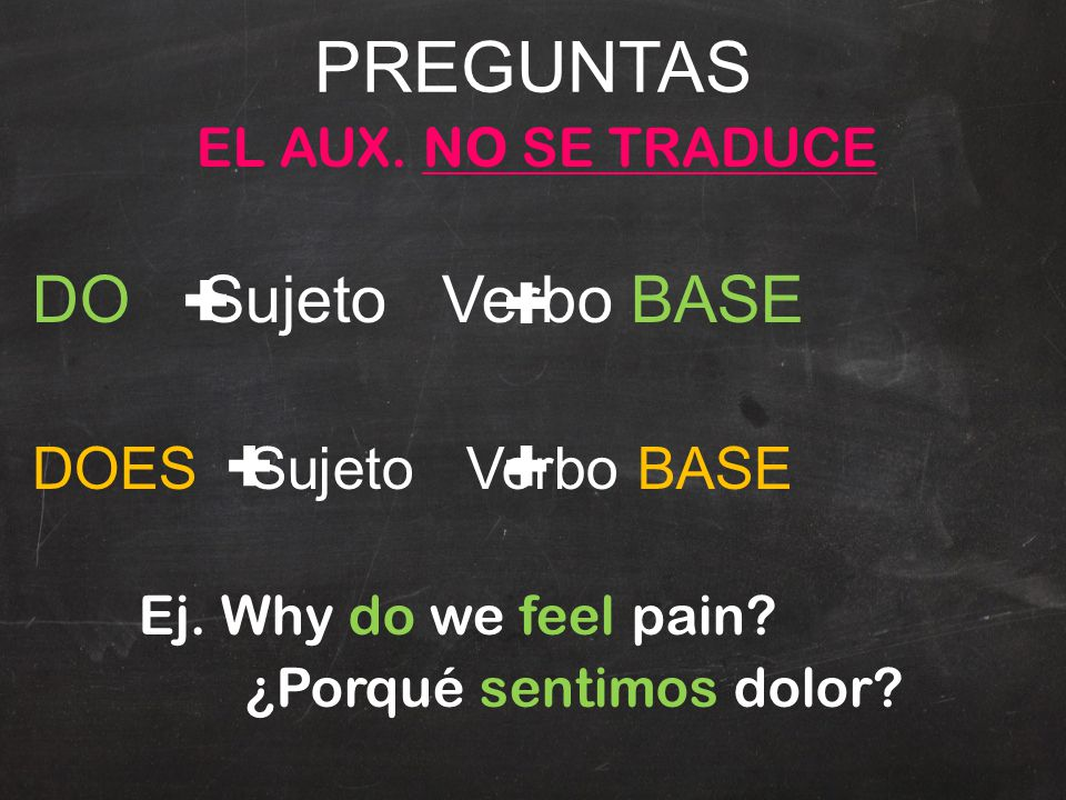 PREGUNTAS EL AUX. NO SE TRADUCE DO Sujeto Verbo BASE DOES Sujeto Verbo BASE Ej. Why do we feel pain? ¿Porqué sentimos dolor?