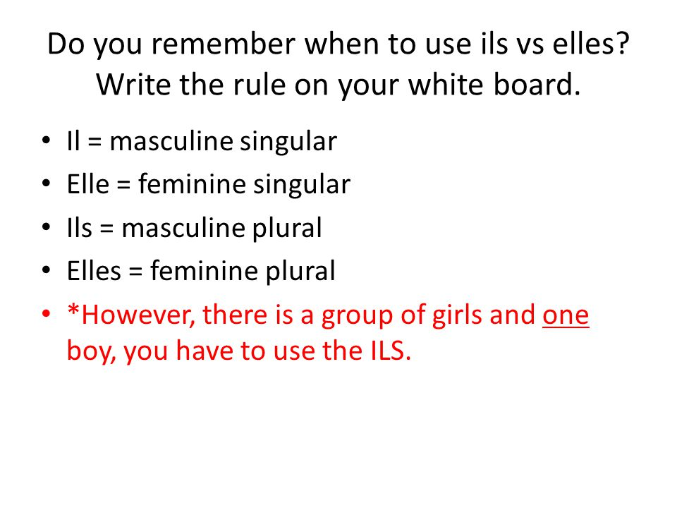 Do you remember when to use ils vs elles. Write the rule on your white board.
