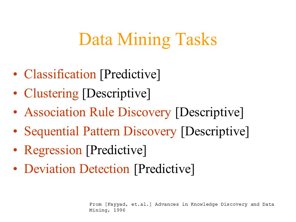 Data Mining Tasks Classification [Predictive] Clustering [Descriptive] Association Rule Discovery [Descriptive] Sequential Pattern Discovery [Descriptive] Regression [Predictive] Deviation Detection [Predictive] From [Fayyad, et.al.] Advances in Knowledge Discovery and Data Mining, 1996