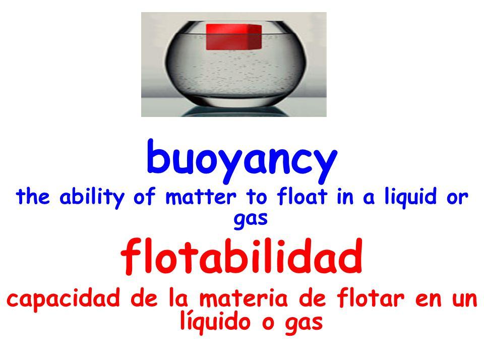 buoyancy the ability of matter to float in a liquid or gas flotabilidad capacidad de la materia de flotar en un líquido o gas