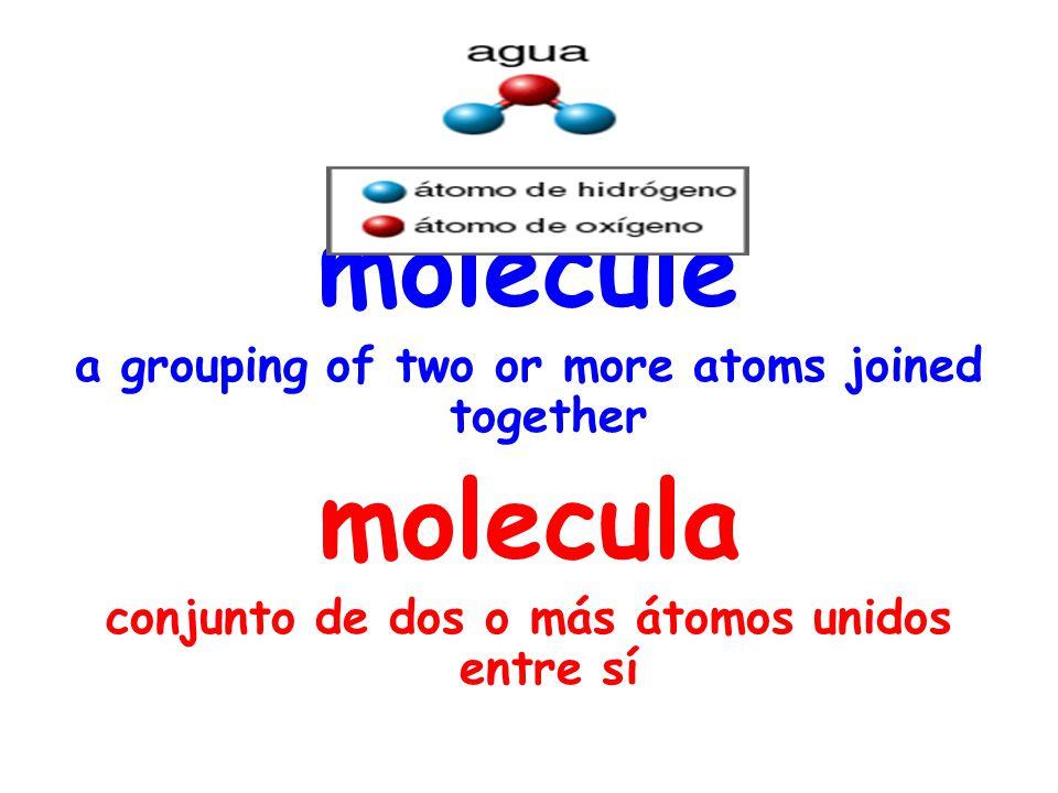 molecule a grouping of two or more atoms joined together molecula conjunto de dos o más átomos unidos entre sí