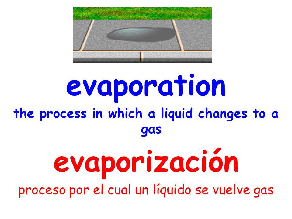 evaporation the process in which a liquid changes to a gas evaporización proceso por el cual un líquido se vuelve gas