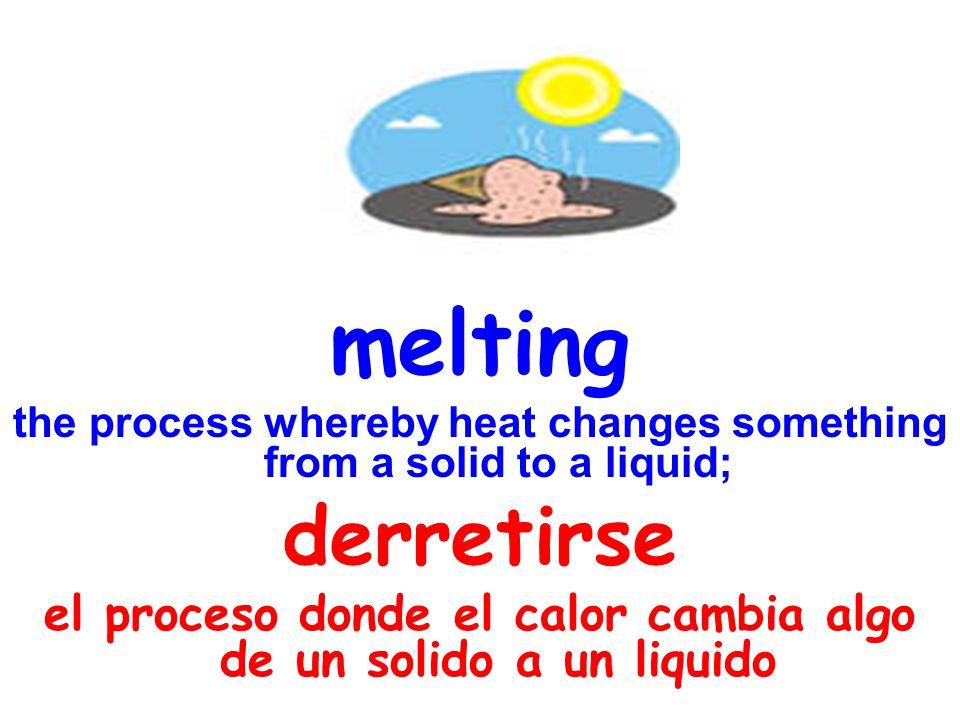 melting the process whereby heat changes something from a solid to a liquid; derretirse el proceso donde el calor cambia algo de un solido a un liquid