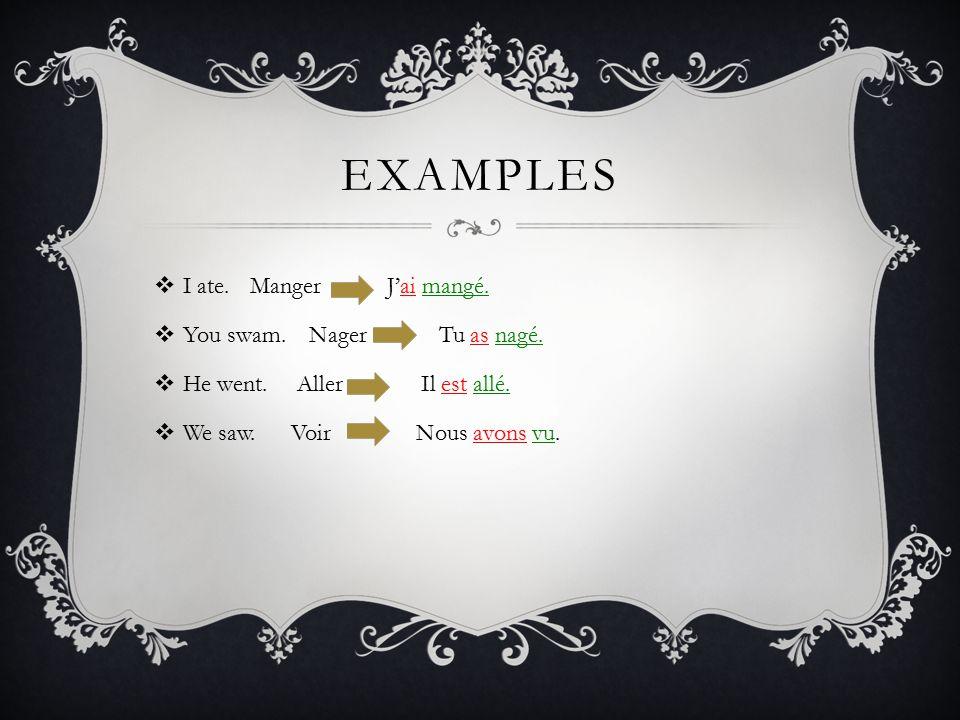 EXAMPLES  I ate.Manger J'ai mangé.  You swam. Nager Tu as nagé.