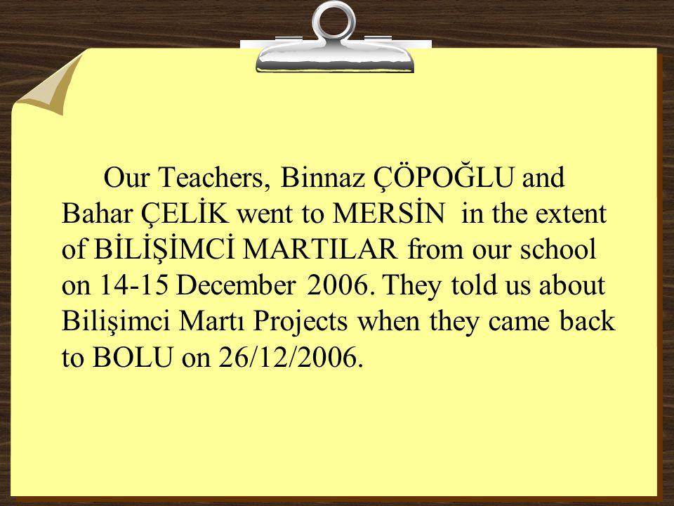 Our Teachers, Binnaz ÇÖPOĞLU and Bahar ÇELİK went to MERSİN in the extent of BİLİŞİMCİ MARTILAR from our school on 14-15 December 2006. They told us a