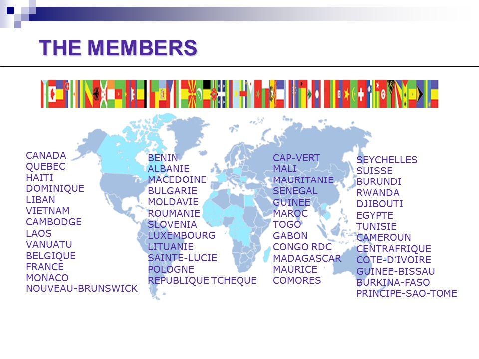 CANADA QUEBEC HAITI DOMINIQUE LIBAN VIETNAM CAMBODGE LAOS VANUATU BELGIQUE FRANCE MONACO NOUVEAU-BRUNSWICK CAP-VERT MALI MAURITANIE SENEGAL GUINEE MAROC TOGO GABON CONGO RDC MADAGASCAR MAURICE COMORES THE MEMBERS BENIN ALBANIE MACEDOINE BULGARIE MOLDAVIE ROUMANIE SLOVENIA LUXEMBOURG LITUANIE SAINTE-LUCIE POLOGNE REPUBLIQUE TCHEQUE SEYCHELLES SUISSE BURUNDI RWANDA DJIBOUTI EGYPTE TUNISIE CAMEROUN CENTRAFRIQUE COTE-D'IVOIRE GUINEE-BISSAU BURKINA-FASO PRINCIPE-SAO-TOME