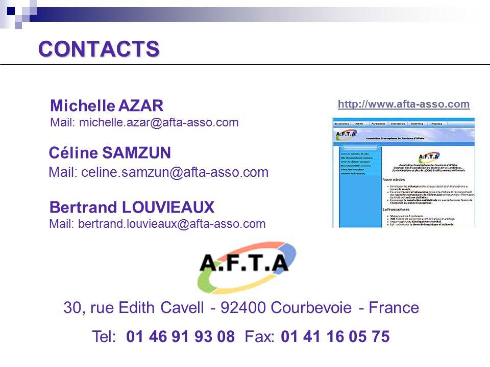 CONTACTS Céline SAMZUN Mail: celine.samzun@afta-asso.com Michelle AZAR Mail: michelle.azar@afta-asso.com 30, rue Edith Cavell - 92400 Courbevoie - France Tel: 01 46 91 93 08 Fax: 01 41 16 05 75 http://www.afta-asso.com Bertrand LOUVIEAUX Mail: bertrand.louvieaux@afta-asso.com