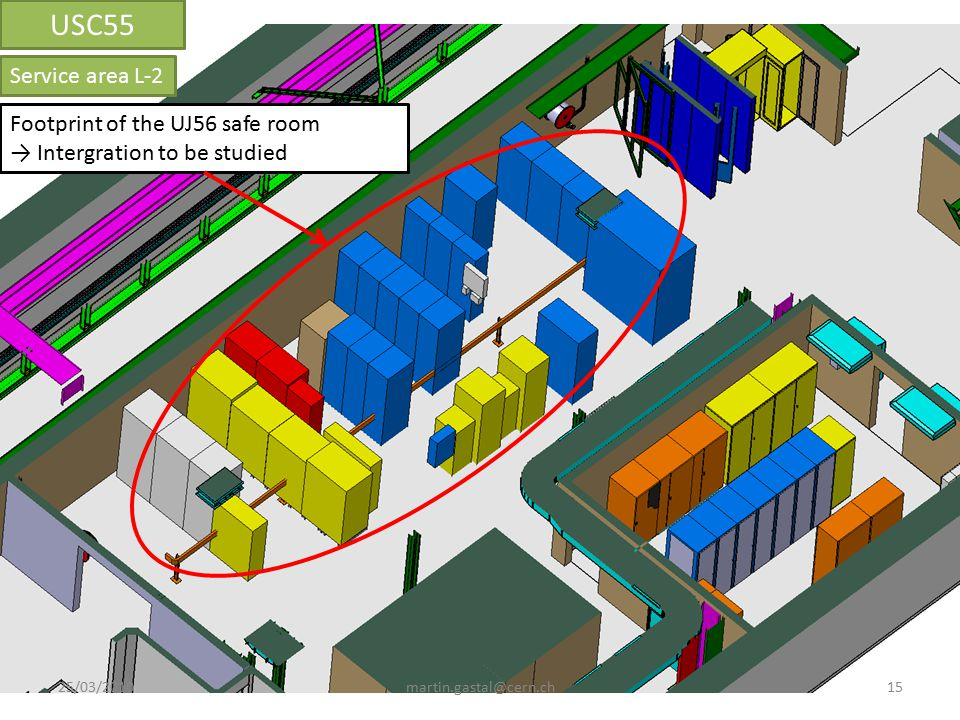 Footprint of the UJ56 safe room → Intergration to be studied Service area L-2 USC55 15martin.gastal@cern.ch25/03/2010