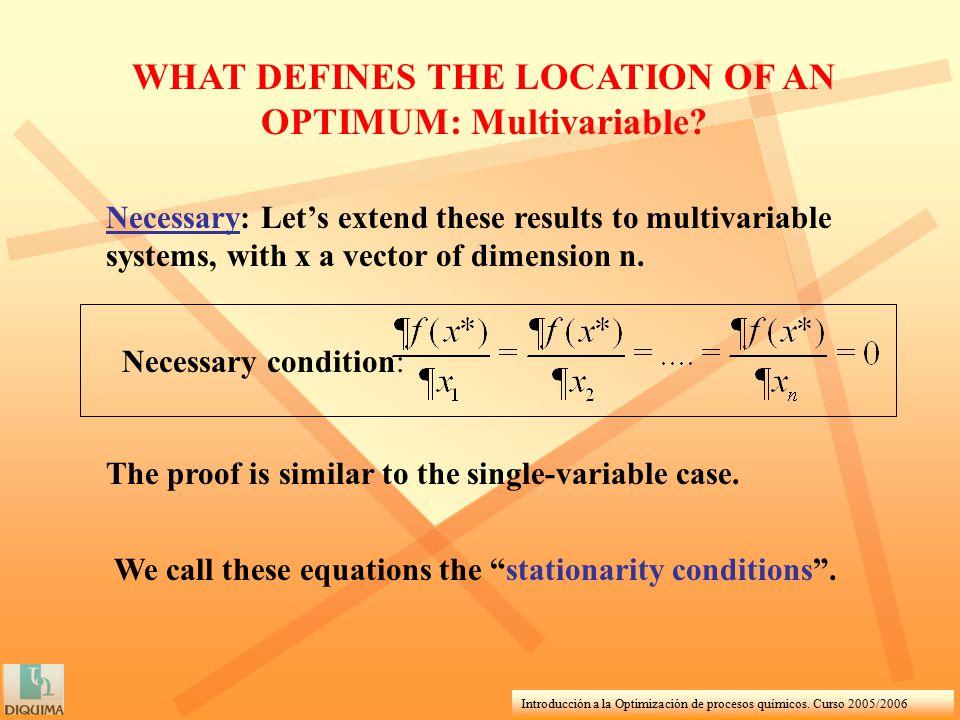 Introducción a la Optimización de procesos químicos. Curso 2005/2006 WHAT DEFINES THE LOCATION OF AN OPTIMUM: Multivariable? Necessary: Let's extend t