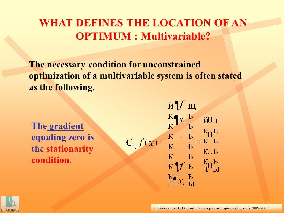 Introducción a la Optimización de procesos químicos. Curso 2005/2006 WHAT DEFINES THE LOCATION OF AN OPTIMUM : Multivariable? The necessary condition