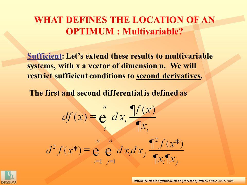 Introducción a la Optimización de procesos químicos. Curso 2005/2006 WHAT DEFINES THE LOCATION OF AN OPTIMUM : Multivariable? Sufficient: Let's extend