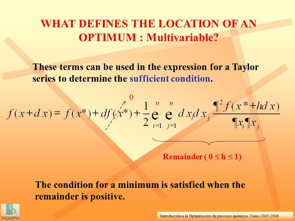 Introducción a la Optimización de procesos químicos. Curso 2005/2006 WHAT DEFINES THE LOCATION OF AN OPTIMUM : Multivariable? These terms can be used