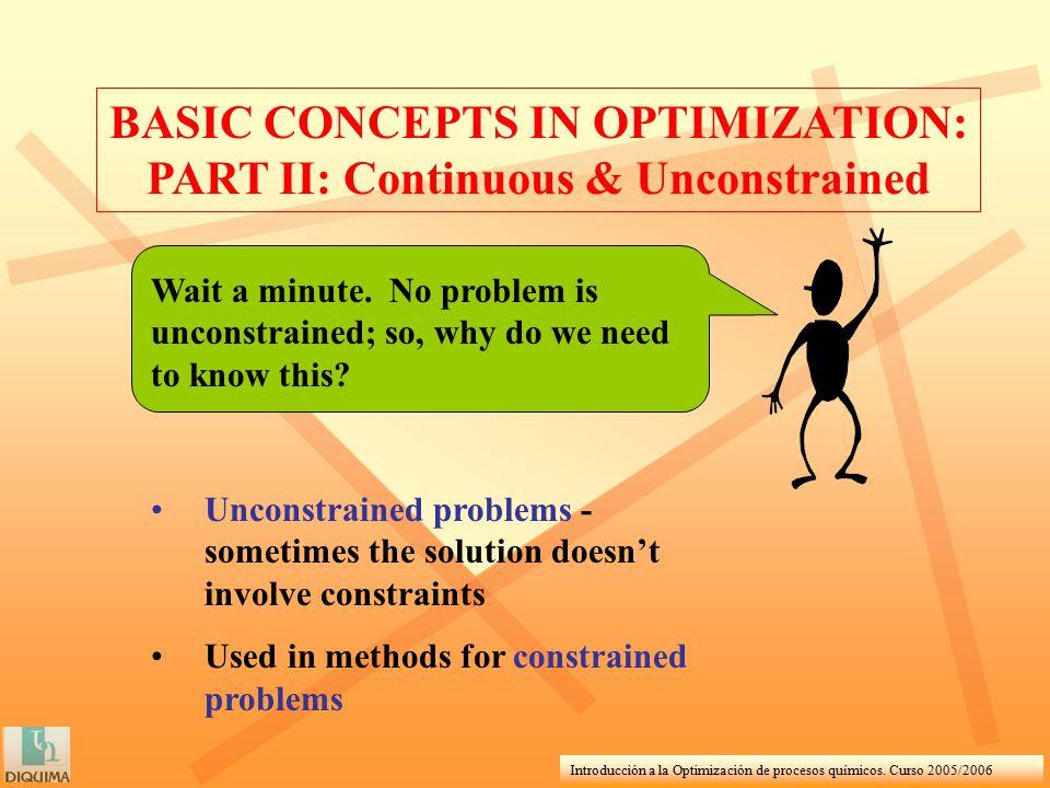 Introducción a la Optimización de procesos químicos. Curso 2005/2006 BASIC CONCEPTS IN OPTIMIZATION: PART II: Continuous & Unconstrained Wait a minute