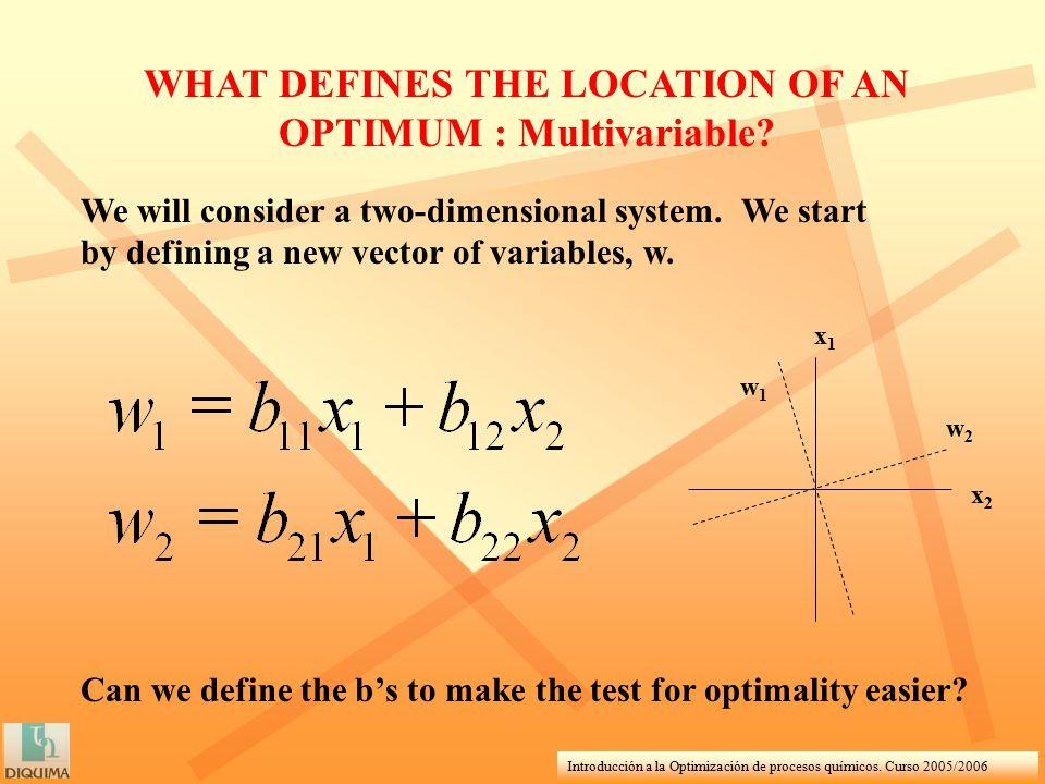 Introducción a la Optimización de procesos químicos. Curso 2005/2006 WHAT DEFINES THE LOCATION OF AN OPTIMUM : Multivariable? We will consider a two-d