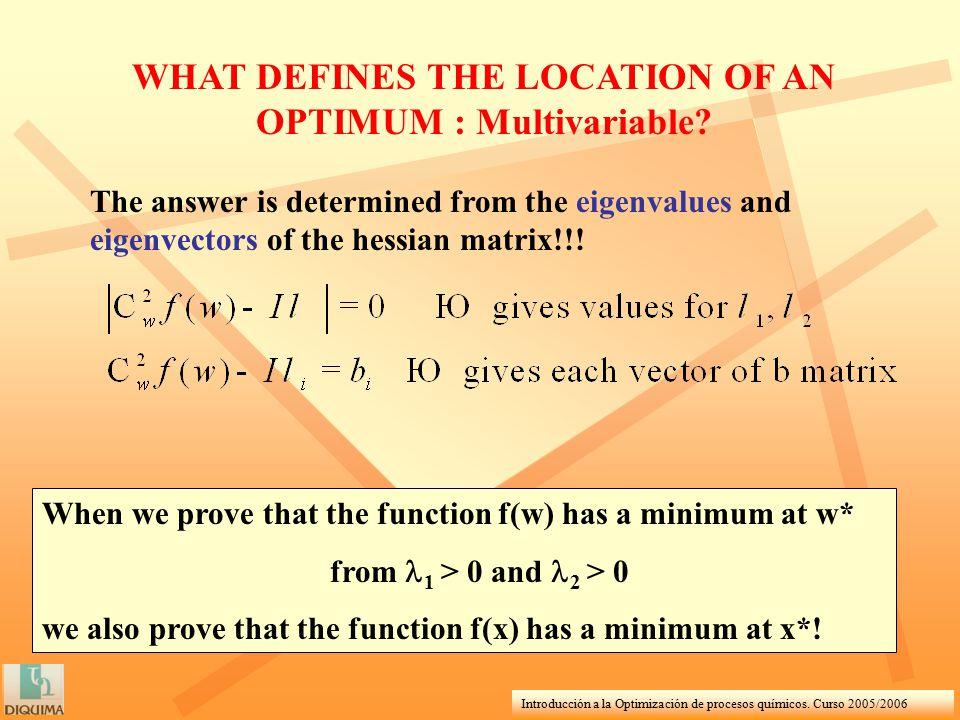 Introducción a la Optimización de procesos químicos. Curso 2005/2006 WHAT DEFINES THE LOCATION OF AN OPTIMUM : Multivariable? The answer is determined