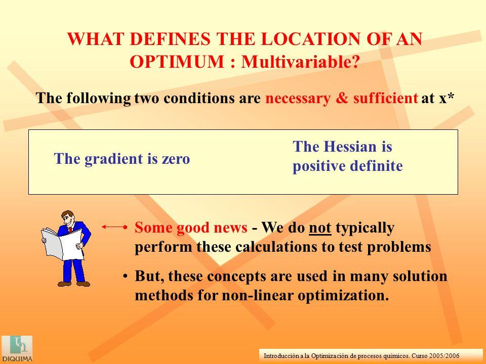 Introducción a la Optimización de procesos químicos. Curso 2005/2006 WHAT DEFINES THE LOCATION OF AN OPTIMUM : Multivariable? The following two condit