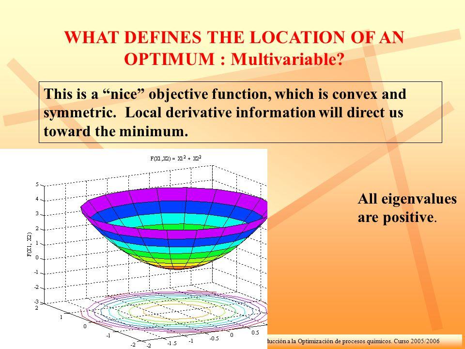 """Introducción a la Optimización de procesos químicos. Curso 2005/2006 WHAT DEFINES THE LOCATION OF AN OPTIMUM : Multivariable? This is a """"nice"""" objecti"""