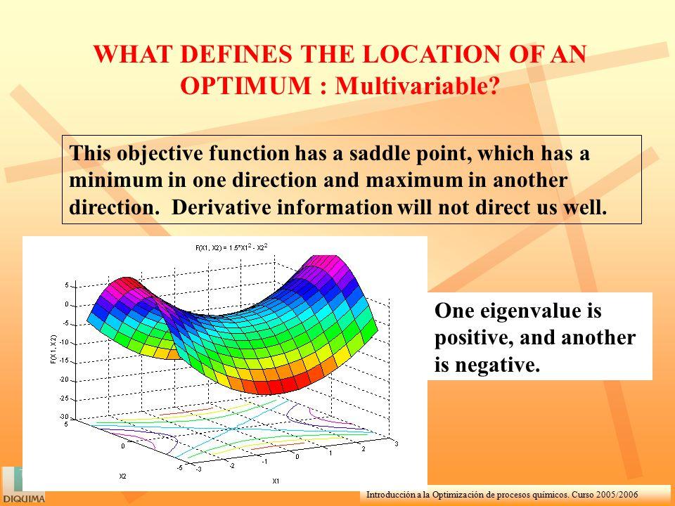 Introducción a la Optimización de procesos químicos. Curso 2005/2006 WHAT DEFINES THE LOCATION OF AN OPTIMUM : Multivariable? This objective function