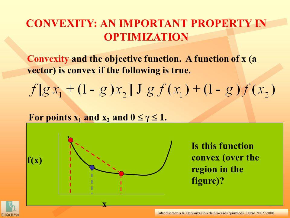 Introducción a la Optimización de procesos químicos. Curso 2005/2006 Convexity and the objective function. A function of x (a vector) is convex if the