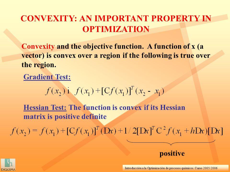 Introducción a la Optimización de procesos químicos. Curso 2005/2006 Convexity and the objective function. A function of x (a vector) is convex over a