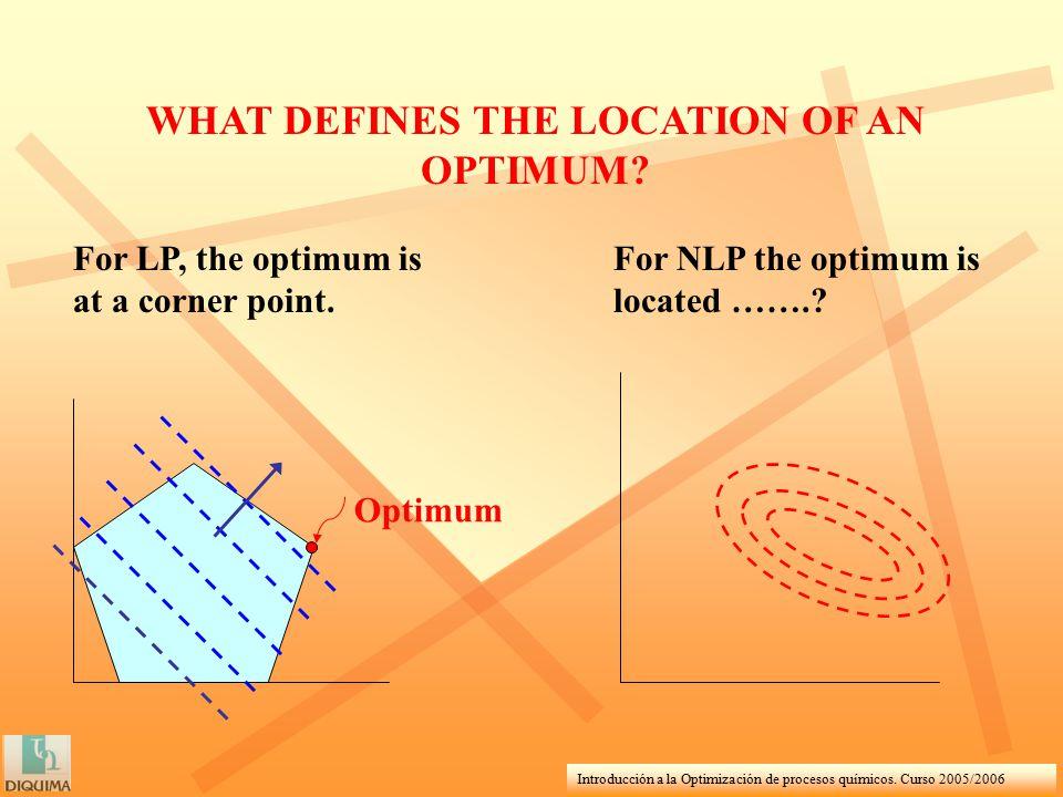 Introducción a la Optimización de procesos químicos. Curso 2005/2006 WHAT DEFINES THE LOCATION OF AN OPTIMUM? Optimum For LP, the optimum is at a corn