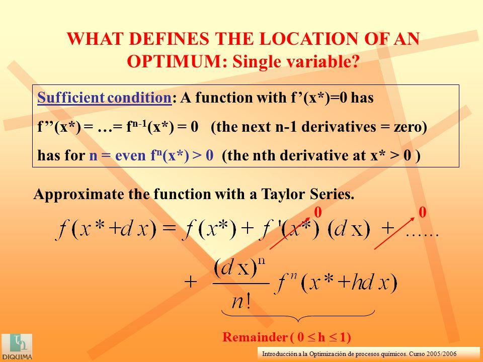Introducción a la Optimización de procesos químicos. Curso 2005/2006 WHAT DEFINES THE LOCATION OF AN OPTIMUM: Single variable? Sufficient condition: A