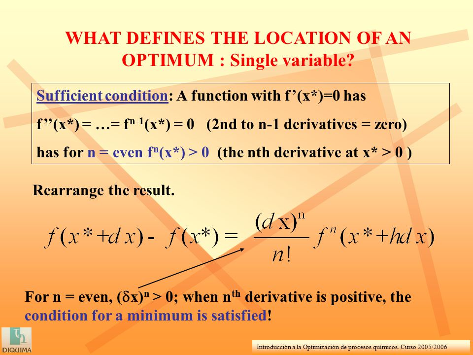 Introducción a la Optimización de procesos químicos. Curso 2005/2006 WHAT DEFINES THE LOCATION OF AN OPTIMUM : Single variable? Sufficient condition: