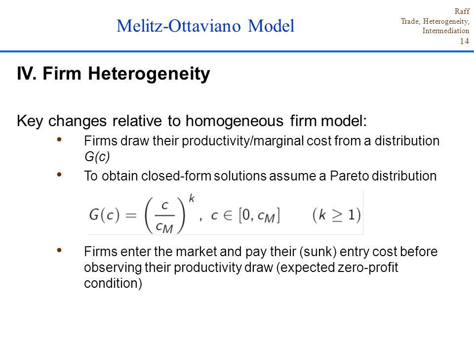Raff Trade, Heterogeneity, Intermediation 14 IV. Firm Heterogeneity Key changes relative to homogeneous firm model: Firms draw their productivity/marg