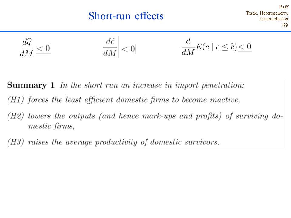 Raff Trade, Heterogeneity, Intermediation 69 Short-run effects