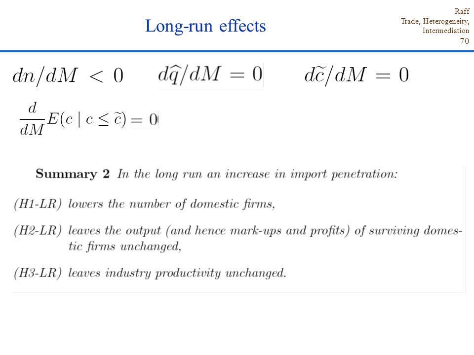 Raff Trade, Heterogeneity, Intermediation 70. Long-run effects