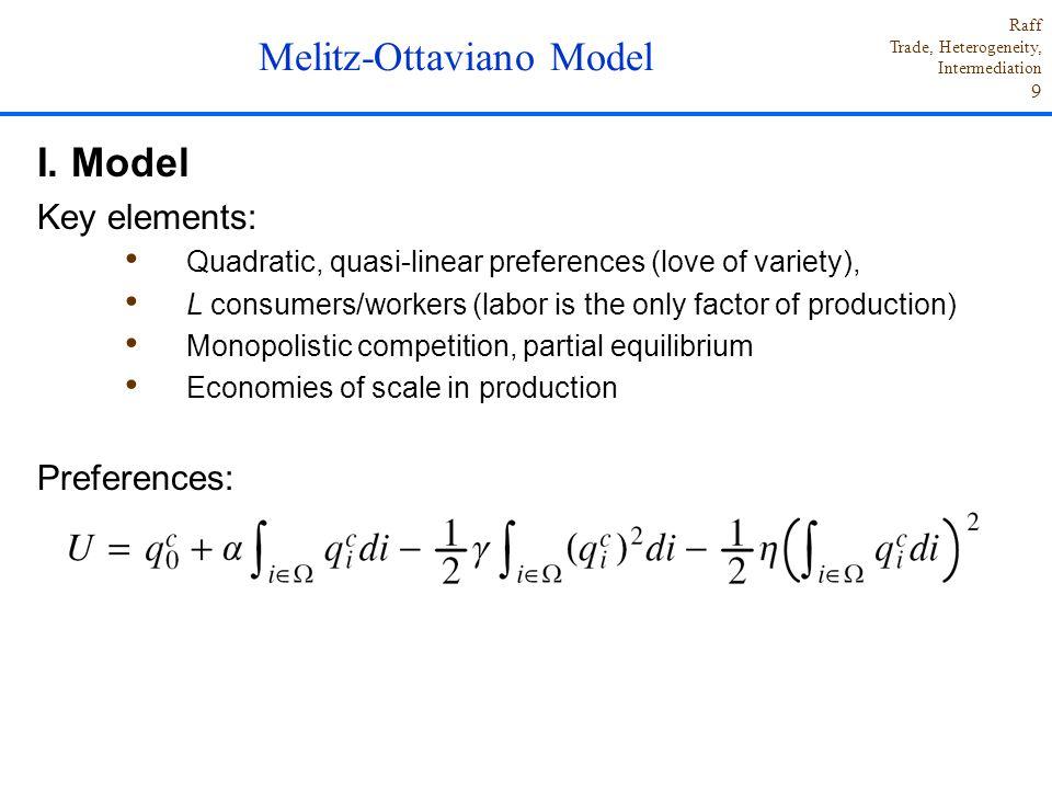 Raff Trade, Heterogeneity, Intermediation 9 I. Model Key elements: Quadratic, quasi-linear preferences (love of variety), L consumers/workers (labor i