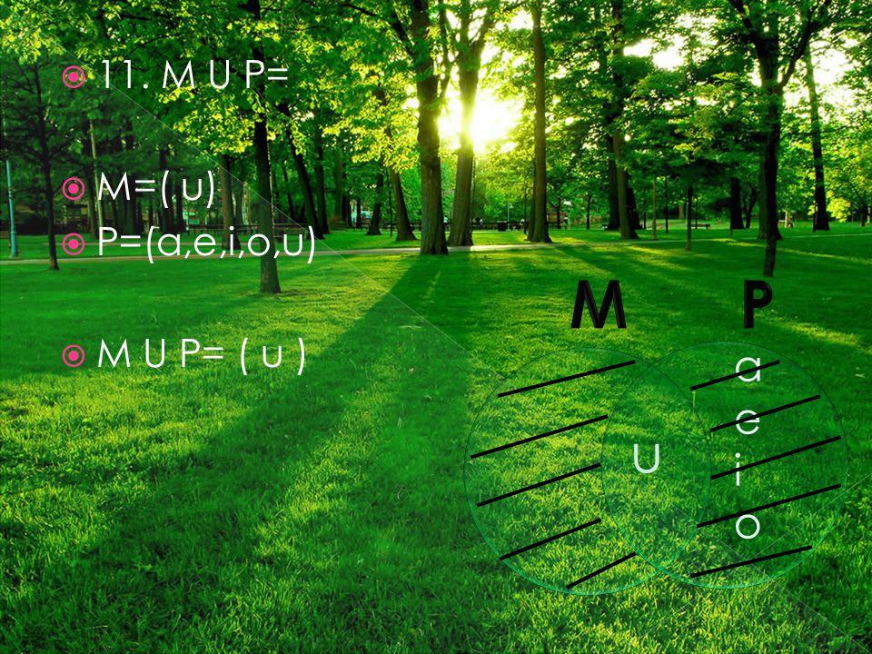  11. M U P=  M=( u)  P=(a,e,i,o,u)  M U P= ( u ) u aeioaeio