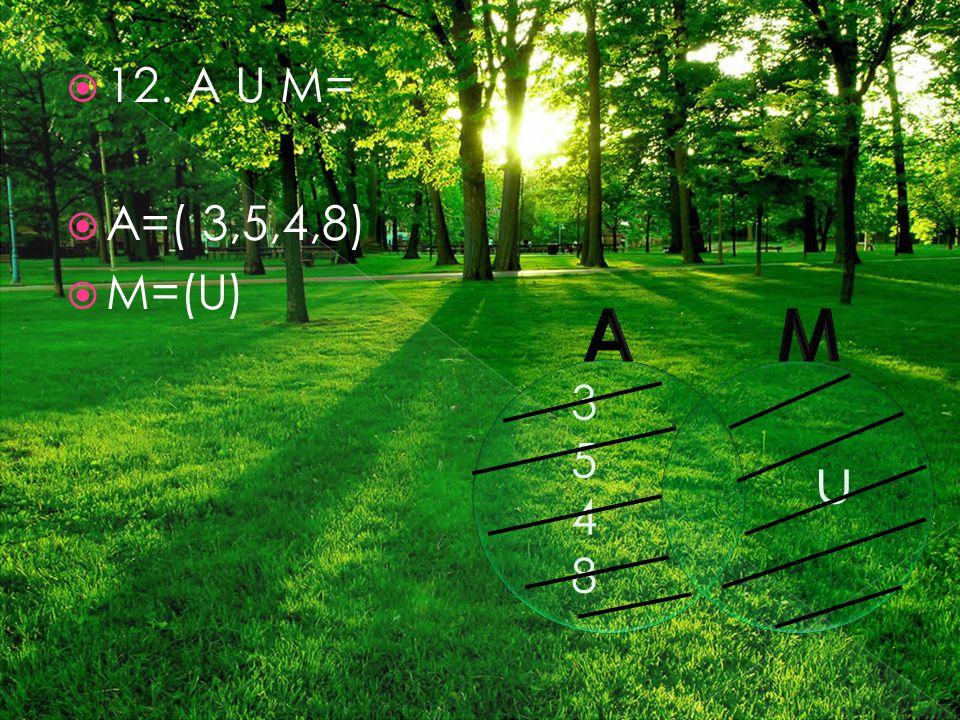 12. A U M=  A=( 3,5,4,8)  M=(U) 35483548 u