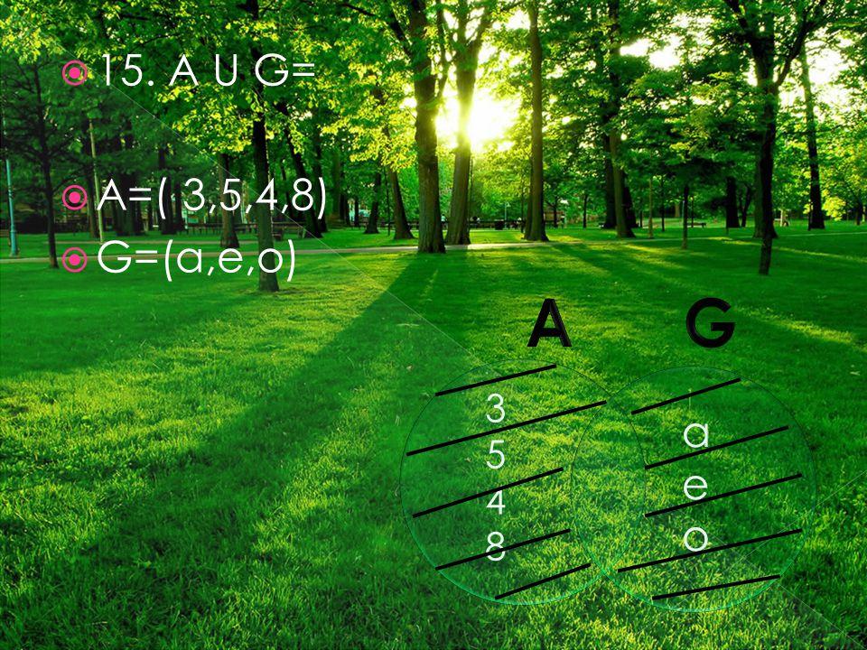  15. A U G=  A=( 3,5,4,8)  G=(a,e,o) 35483548 aeoaeo