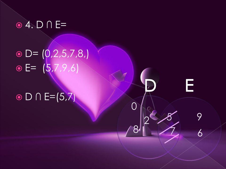  4. D ∩ E=  D= (0,2,5,7,8,)  E= (5,7,9,6)  D ∩ E=(5,7 ) 5 7 0 2 8 9 6