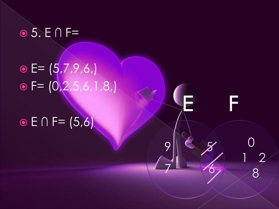  5. E ∩ F=  E= (5,7,9,6,)  F= (0,2,5,6,1,8,)  E ∩ F= (5,6) 5 6 9 7 0 21 8